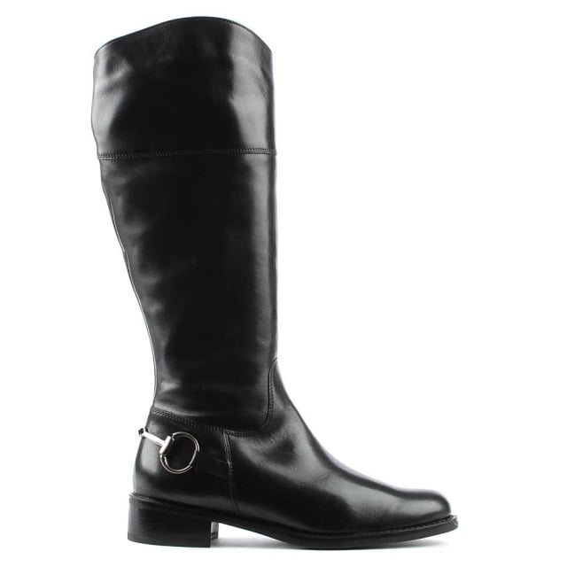 Daniel Reign Black Leather Metal Chain Riding Boot