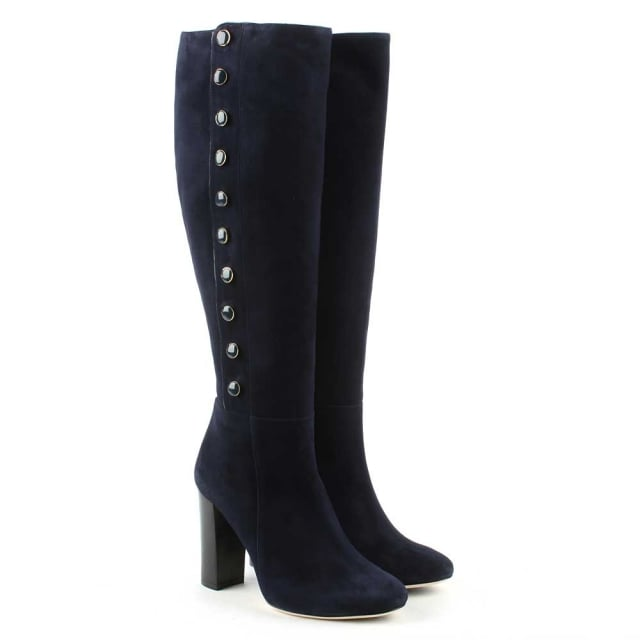Phio Myo Eunice Navy Suede Embellished Knee Boot