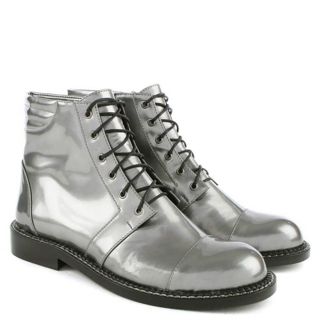 Phio Myo Leon Patent Silver Leather Lace Up Ankle Boot