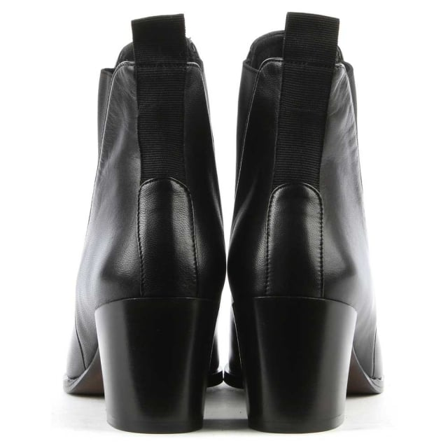Phio Myo Anniel Black Leather Pointed Toe Chelsea Boot