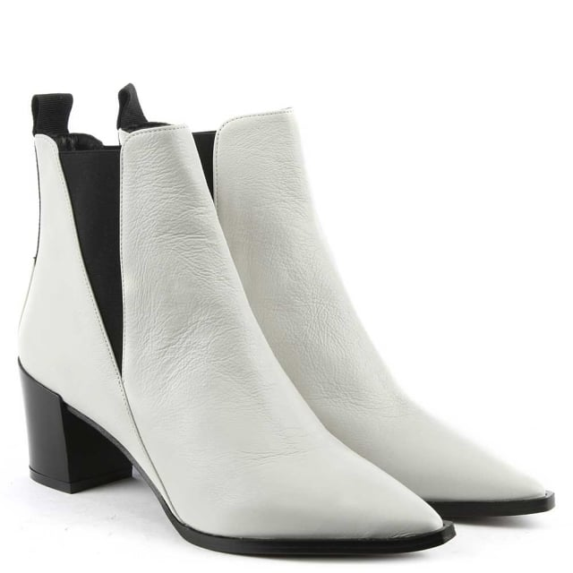 Phio Myo Anniel White Leather Pointed Toe Chelsea Boot