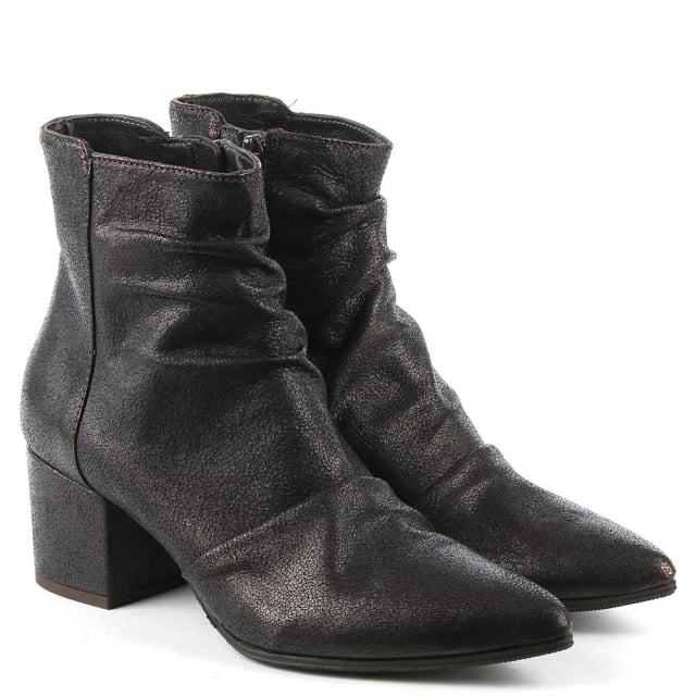 Daniel Maisie Black Metallic Leather Rouched Ankle Boot