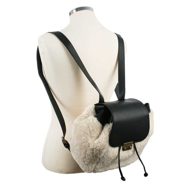 UGG Vivienne Black Leather Sheepskin Backpack