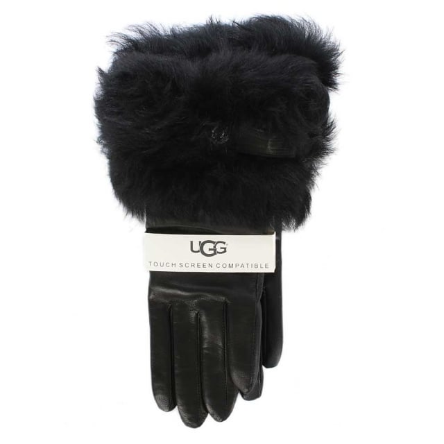 UGG Valentina Swarovski Black Leather Smart Glove