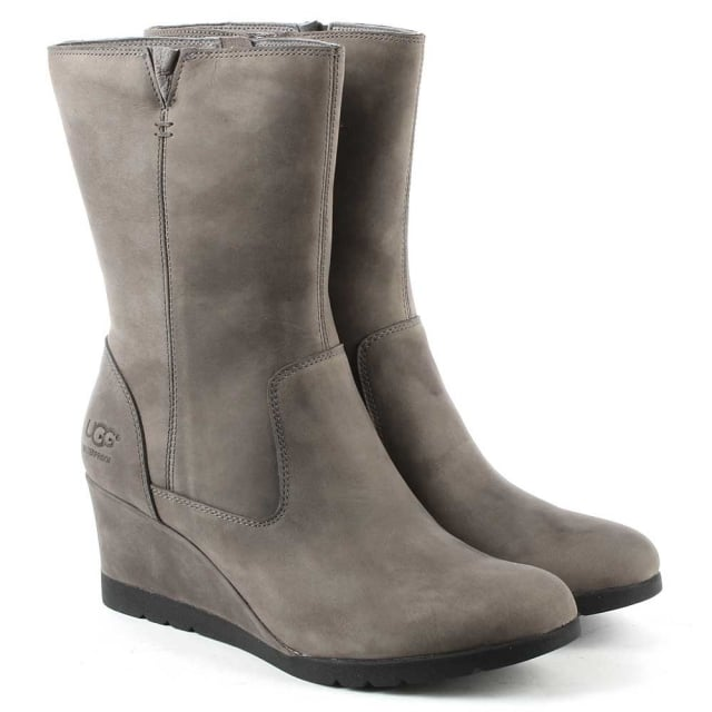 UGG Joely Charcoal Leather Low Wedge Ankle Boot
