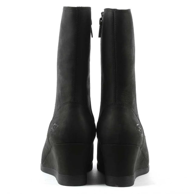 UGG Joely Black Leather Low Wedge Ankle Boot