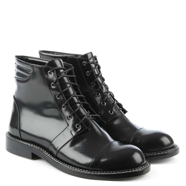 Phio Myo Leon Patent Black Leather Lace Up Ankle Boot