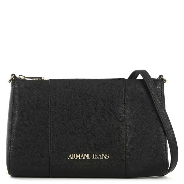 Armani Jeans Saffiano Black Top Zip Cross-Body Bag