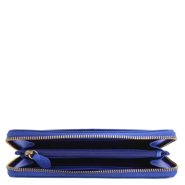 DKNY Bryant Electic Blue Saffiano Leather Zip Around Wallet