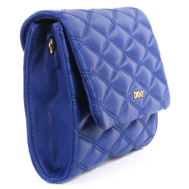 DKNY Gansevoort Quilted Electric Blue Nappa Leather Cross-Body Bag