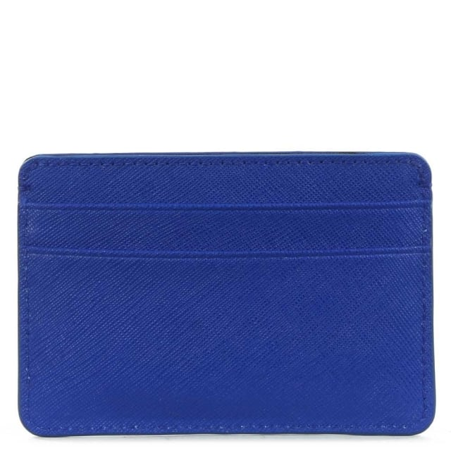 DKNY Electric Blue Saffiano Leather Card Holder
