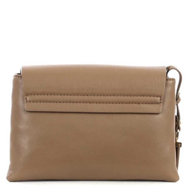 DKNY Laura Khaki Leather Mini Front Flap Wide Strap Cross-Body Bag