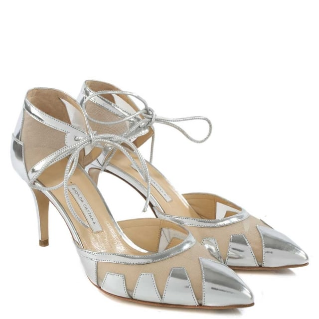 Bionda Castana Alexa Silver Leather Mesh Insert Ankle Tie Court Shoe