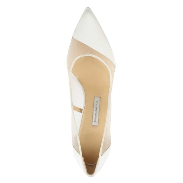 Bionda Castana Bay White Satin Mesh Insert Court Shoe