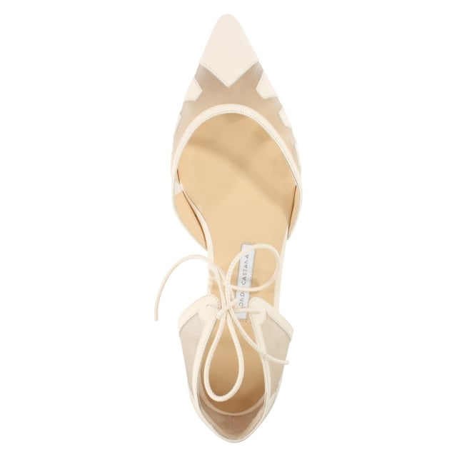 Bionda Castana Denni Nude Leather Mesh Pointed Toe Flat