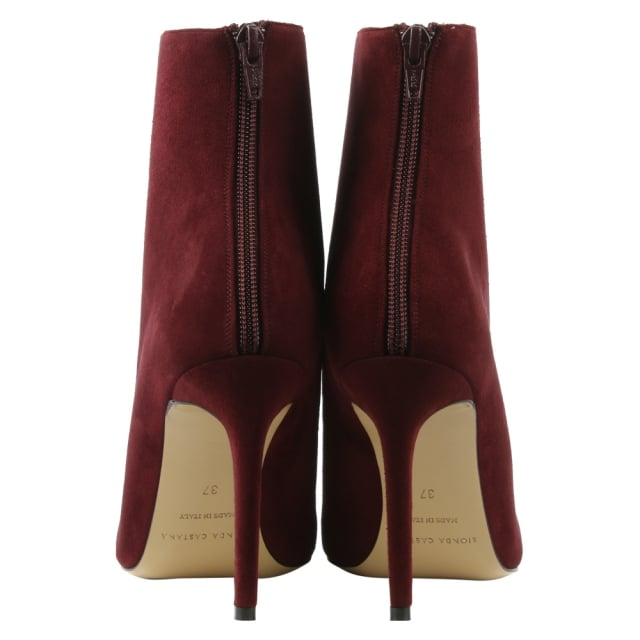 Bionda Castana Burgundy Suede Pointed Toe Ankle Boot