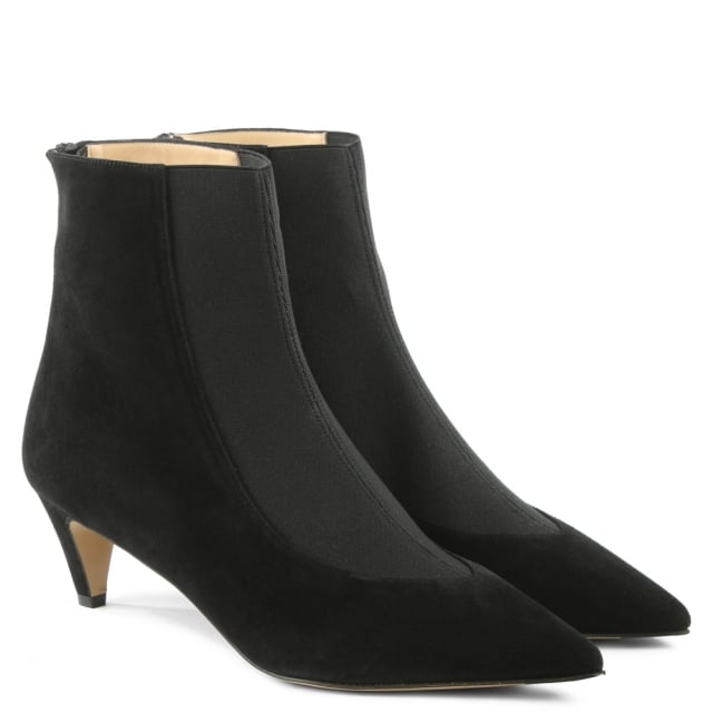 Bionda Castana Moshe Black Suede Pointed Toe Kitten Heel Ankle Boot