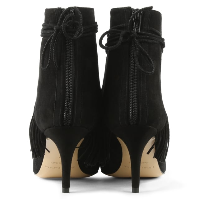 Bionda Castana Mimi Black Suede Fringed Ankle Boot