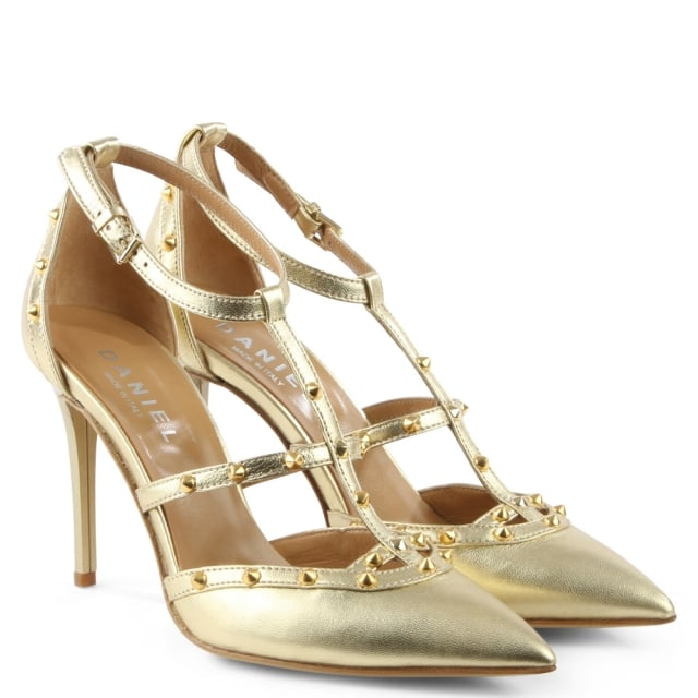 Daniel Tiff Gold Leather Studded Court Shoe