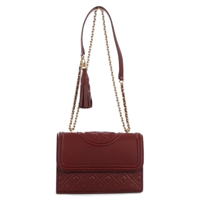 Tory Burch Small Fleming Port Royal Leather Flapover Shoulder Bag
