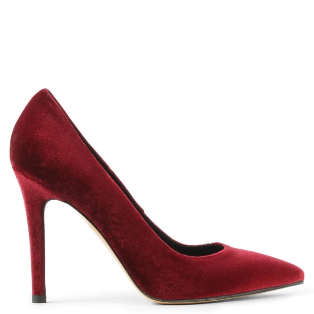 Daniel Bridget Burgundy Velvet Court Shoe