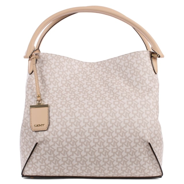 DKNY Heritage Coated Taupe Leather Logo Hobo Bag