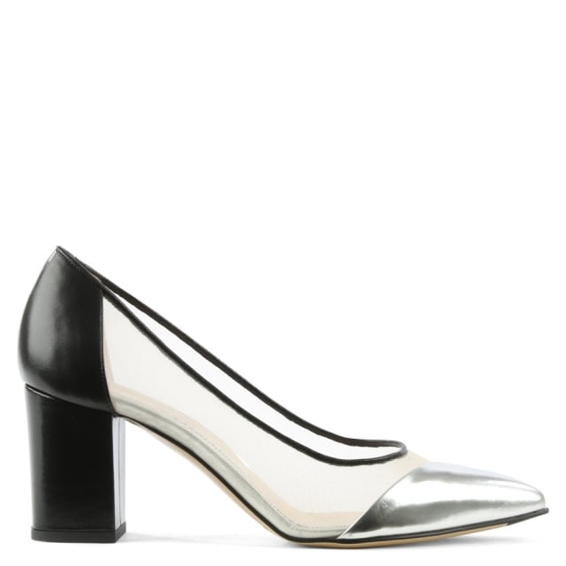 Bionda Castana Lama Black & Silver Leather Mesh Insert Block Heel Court Shoe