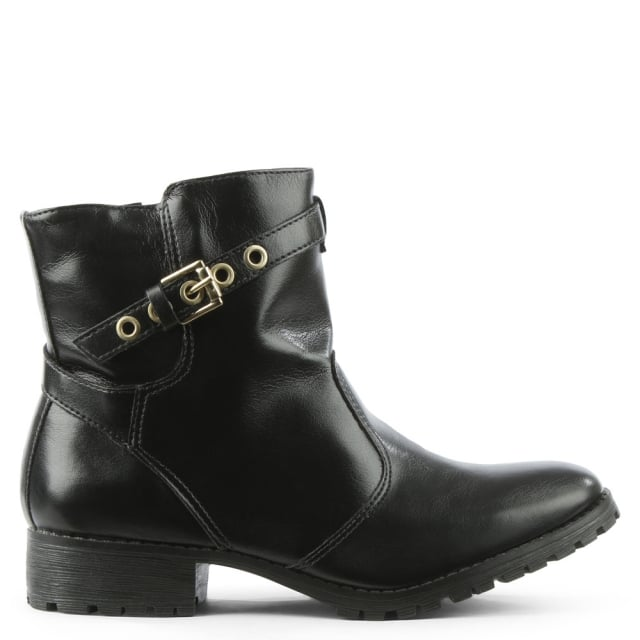 Via Uno Black Buckle & Strap Ankle Boot