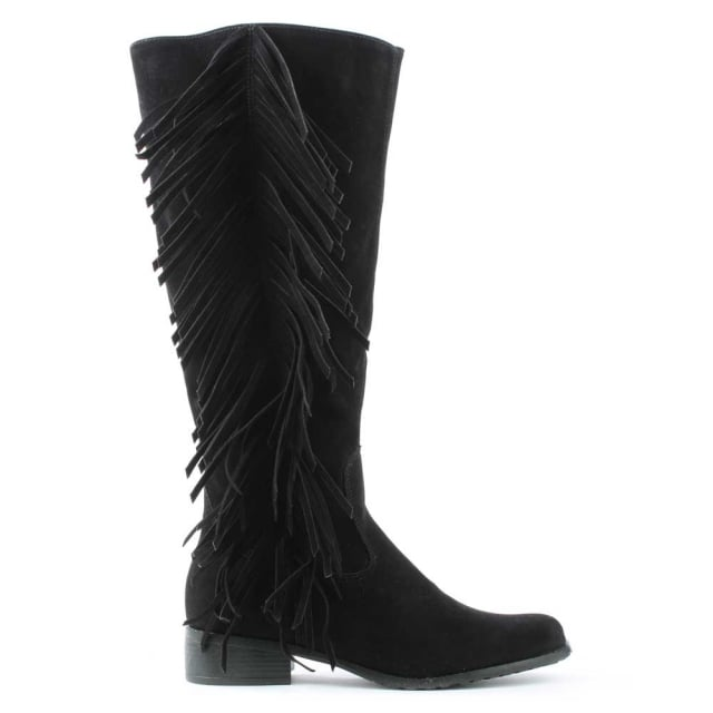 Via Uno Black Fringe Knee Boot