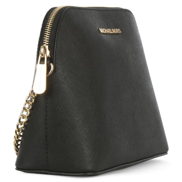 Michael Kors Cindy Large Black Saffiano Leather Dome Cross-Body Bag