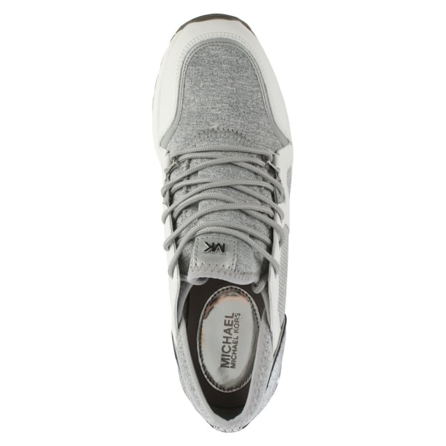 Michael Kors Scout White & Grey Leather Trim Trainer