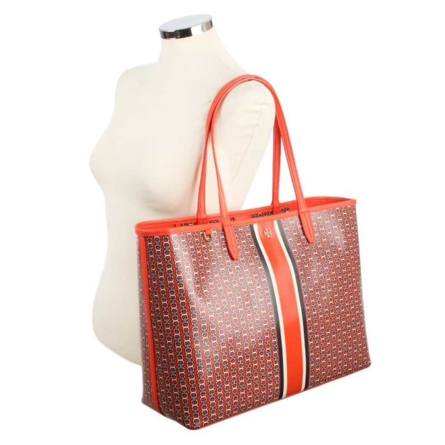 Tory Burch Gemini Red Coated Canvas Link Tote Bag