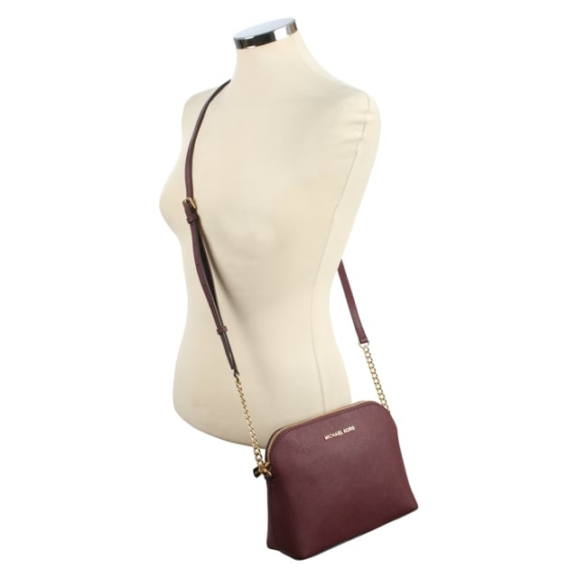 Michael Kors Cindy Large Plum Saffiano Leather Dome Cross-Body Bag