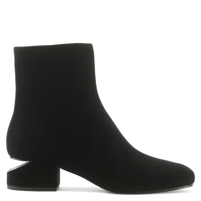 Alexander Wang Kelly Rhodium Black Suede Ankle Boot