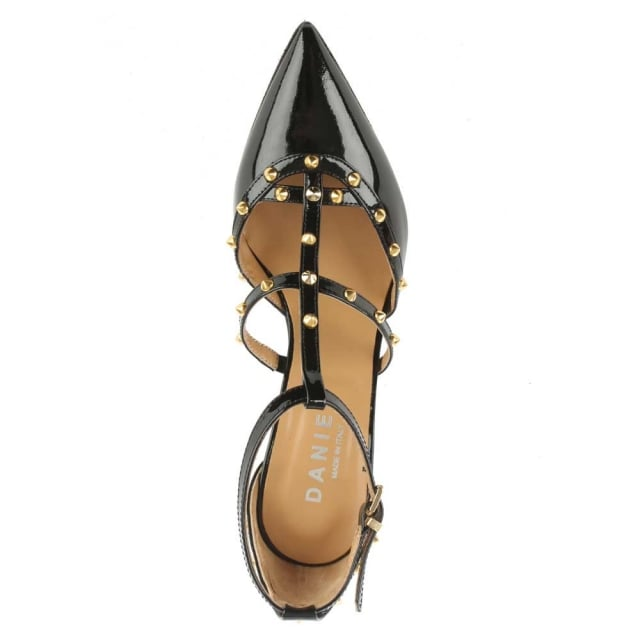 Daniel Tiff Black All Patent Studded Court Shoe