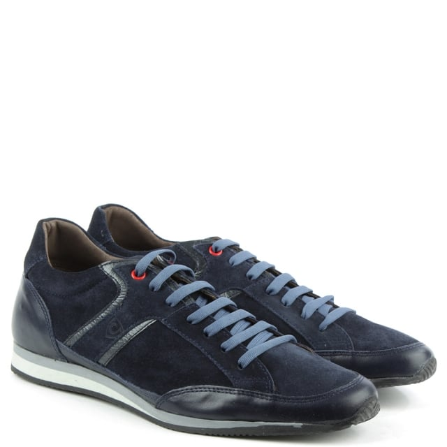 Enzo Feldini Navy Leather & Suede Sporty Lace Up Trainer