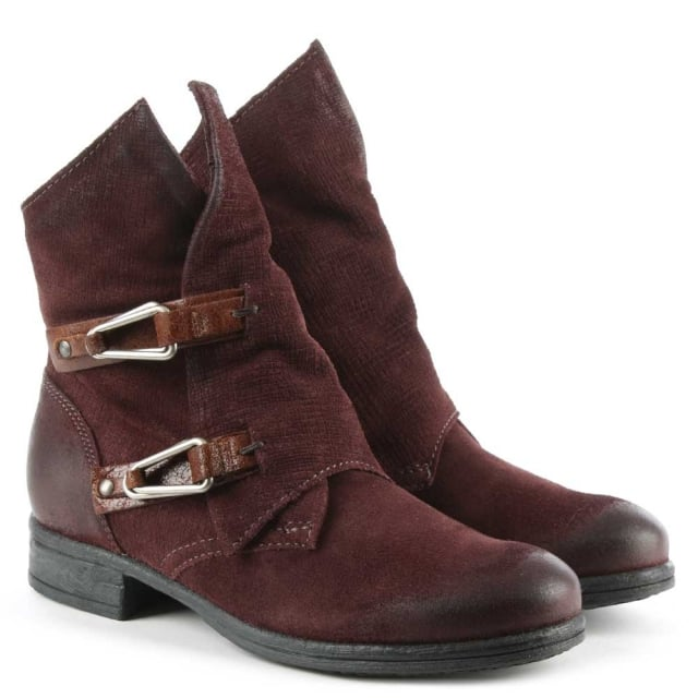 Mjus Alera Burgundy Leather Double Buckle Ankle Boot