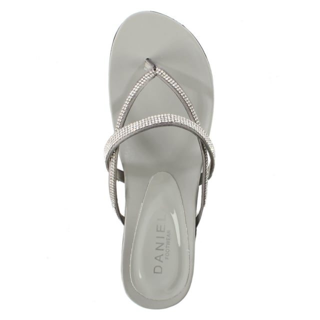 DF By Daniel Kintyre Silver Diamante Toe Post Sandal