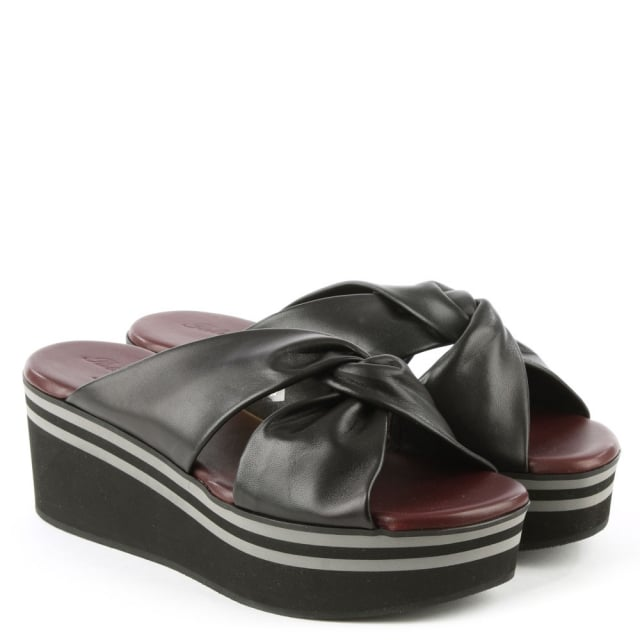 Robert Clergerie Black Leather Knotted Wedge Mule