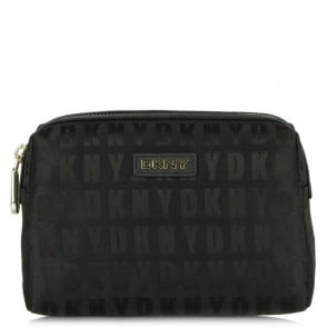 DKNY Kandy 1 Black Leather Logo Medium Cosmetic Case
