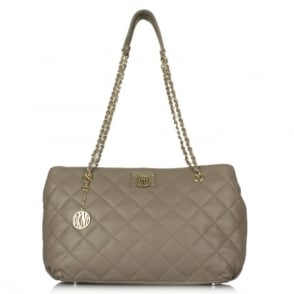 DKNY Kandy 118 Taupe Leather Quilted Shopper
