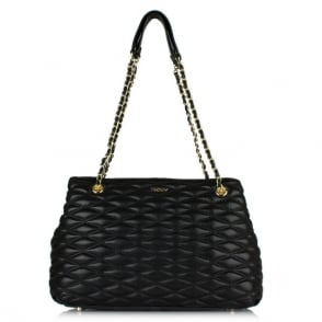 DKNY Emmy Black Leather Quilted Shopper