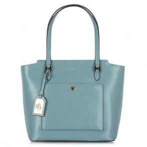 Lauren by Ralph Lauren Newbury Modern Cameo Blue Leather Tote