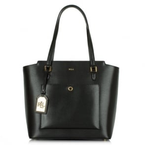 Lauren by Ralph Lauren Newbury Modern Black Leather Tote