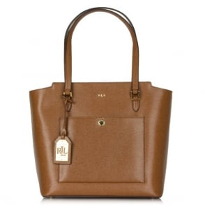 Lauren by Ralph Lauren Newbury Modern Tan Leather Tote