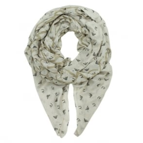 Armani Jeans Olivia Beige Cotton Mix Repeat Logo Scarf