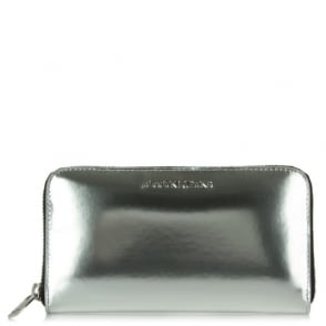 Armani Jeans Nina Silver Metallic Zip Around Wallet
