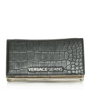 Versace Jeans Charlize Black Fold Over Moc Croc Cross-Body Bag