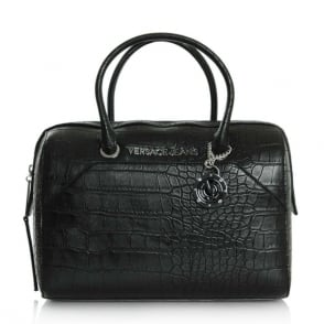 Versace Jeans Jennifer Black Moc Croc Bowing Bag