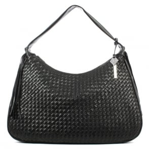 Daniel All Over Woven Black Leather Slouchy Bag